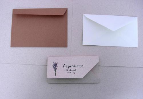 Zaproszenia ślubne rustykalne i koperty, kremowe i ekologiczne