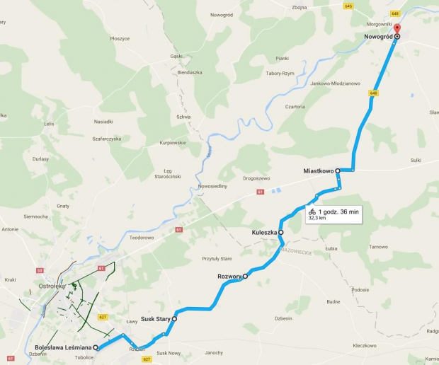 trasa Ostrołka-Nowgród