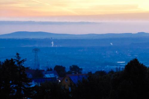 Wschód słońca nad Dreznem.